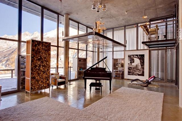 """""""Das luxuriöse Haus bietet viel Platz; ist ein perfekter Ort für grosse Familien oder Familien mit Freunden, die Luxus und Komfort auf höchstem Niveau schätzen.""""  Wohntrends: Heinz Julen in Zermatt, die Schweiz Heinz Julen Loft luxus und trendige platze wohn designtrend 061"""