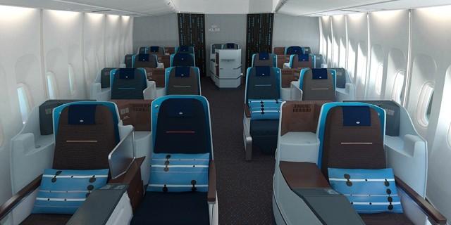 """""""KLM Airlines hat in Zusammenarbeit mit der Top-Designerin Hella Jongerius eine brandneue Atmosphäre, Einrichtung und Stil in der Business Class eingeführt."""""""
