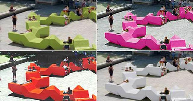 """""""Das Team der PPAG hat sich für den Auftrag des Wiener MQ neue Punschstände zu entwickeln ein Möbelkonzept ausgedacht, bei dem es einerseits möglich ist mehrere Einzelmöbel aufeinander zu stellen in verschieden Varianten, und andererseits jedes Teil auch einzeln nutzen zu können.   ENZI – Kulturobjekte in Wien, MQ Karibik Flair im MQ Enzis und Enzos in sechs Farbtoenen Start am 13"""