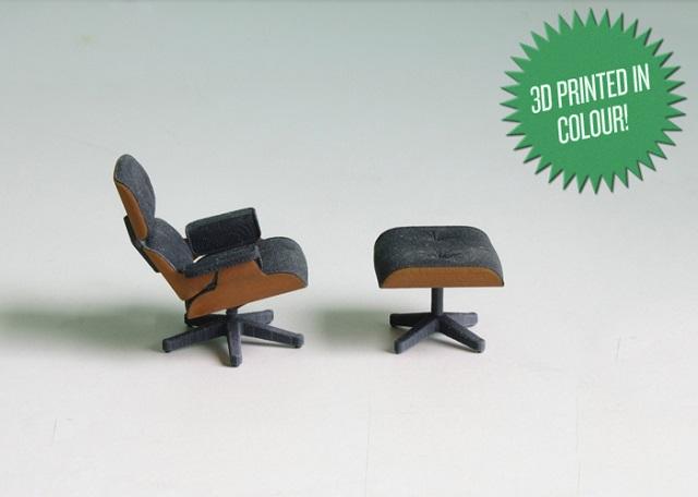 """""""So entstand diese perfekte kleine Miniatur von Charles Eames klassischem Lounge Chair gleich zweifarbig; vom amerikanischen Designstudenten Kevin Spencer.""""  Kreatives Design: Mini-Eames-Chair aus dem 3D-Drucker Wohn DesignTrend Mini Eames Chair aus dem 3D Drucker von Kevin Spencer 03"""