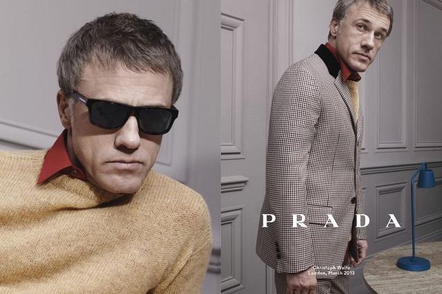 """""""Christoph Waltz, Ben Whishaw und Ezra Miller modelt für die neue Prada-Kampagne für die Herbst-/Winterkollektion, die vom 60er Jahre inspiriert ist."""""""