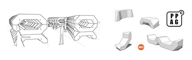 """""""Das Team der PPAG hat sich für den Auftrag des Wiener MQ neue Punschstände zu entwickeln ein Möbelkonzept ausgedacht, bei dem es einerseits möglich ist mehrere Einzelmöbel aufeinander zu stellen in verschieden Varianten, und andererseits jedes Teil auch einzeln nutzen zu können.   ENZI – Kulturobjekte in Wien, MQ enzi002"""