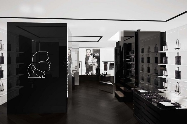"""""""Karl Lagerfeld eröffnet eigene Concept Stores in Berlin und München. Schlichtes Design in striktem Schwarz-Weiß, klare Designkonzept.""""  Karl Lagerfeld neue Stores in Berlin und München Wohn DesignTrend Karl Lagerfeld Shops Deutschland 01"""