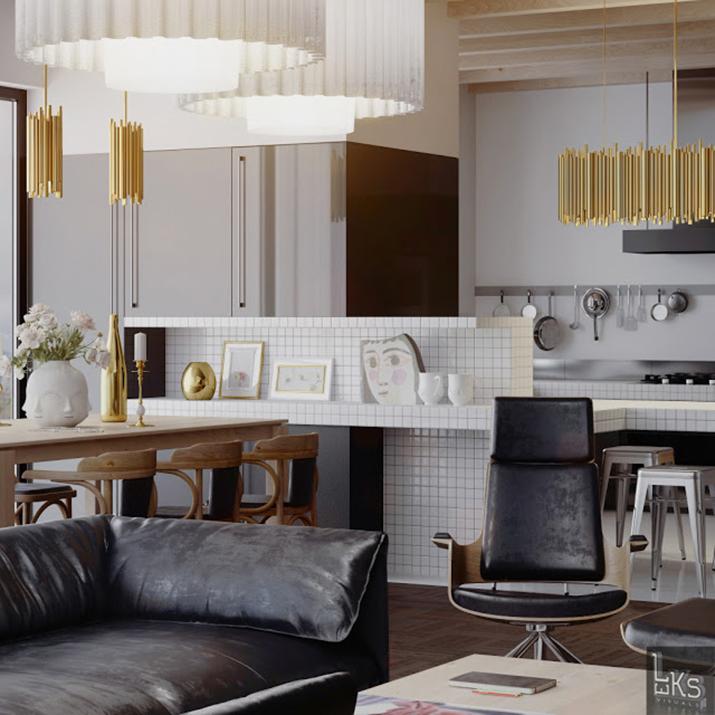 """""""Mitten in Kiew, Ukraine, haben die Architekten von Leks Visuals, ein wunderschönes, exquisites und einmaliges Apartment geschaffen.   Leks Visuals - Apartment in Kiew kvadr 1"""