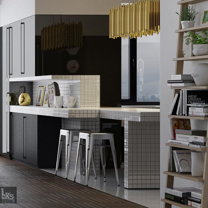 """""""Mitten in Kiew, Ukraine, haben die Architekten von Leks Visuals, ein wunderschönes, exquisites und einmaliges Apartment geschaffen.  Leks Visuals - Apartment in Kiew kvadr 8"""