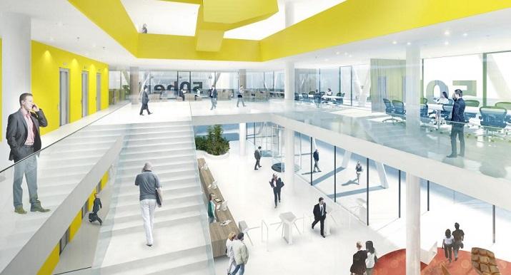 """""""Entworfen von der Architektengruppe LOVE, das Hauptziel bei dem Antrag auf den Sieg für das 50Hertz Headquartes in Berlin war ein innovatives und transparentes.""""  50Hertz Headquarters in Berlin Rendering LOVE 4"""