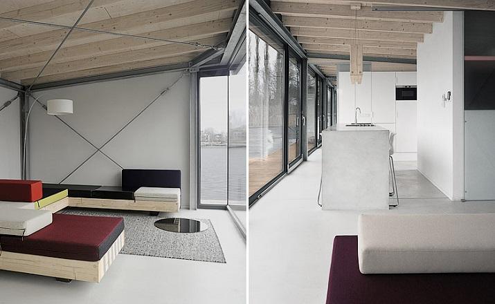 """""""Modernes Hausboot am Fluss. Die Inneneinrichtung ist schlicht, bodentiefe Fenster lassen weit blicken: Hier ist die Umgebung, die Stadt der Star.""""  Modernes Hausboot am Fluss Modernes Hausboot am Fluss 04"""