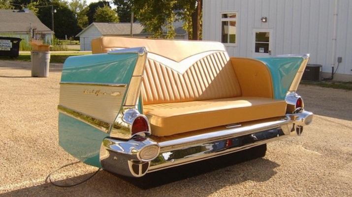 """""""Die schönsten Wagen in der Welt müssen nicht enden, in einem Schrottplatz zu verrosten, sie können umgestaltet werden und gewordener Teil Ihres Hausdekors.""""  Schöne Wagen wurden erstaunliche Möbel Sch  ne Wagen wurden erstaunliche M  bel 02"""