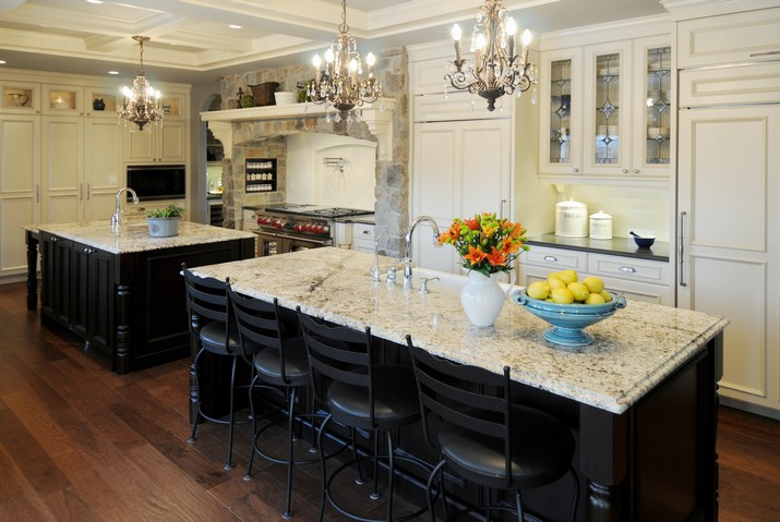 kitchen-inspiration-beautiful-glass-chandeliers-also-white-marble-kitchen-island-countertops-with-black-metal-dining-chairs-with-wooden-flooring-also-white-luxury-ornament-design-for-modern-kitchen-i