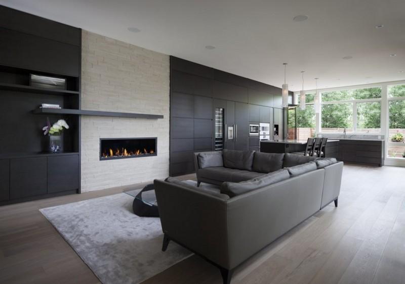 50 Shades of Grey: Deko Ideen für Ihre Wohnung Deko Ideen 50 Shades of Grey: Deko Ideen für Ihre Wohnung Epic Grey Living Room Interior with Modern Sofa Furniture and Fireplace Design