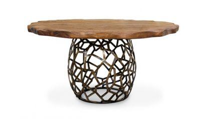 esstische inspirationen Top 7 Unglaubliche Esstische Inspirationen für Silvester apis round geometric wood brass dining table 1 1 409x237