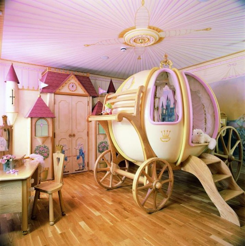 quarto-infantil-com-carruagem-943810 kinderzimmer Verzauberten Disney Kinderzimmer Wohnideen quarto infantil com carruagem 943810