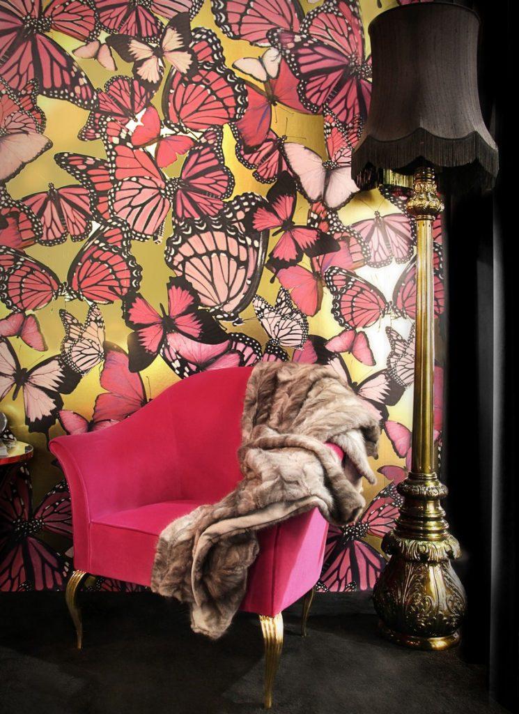 Wunderschöne Tapeten für Wohnzimmer Tapeten Wunderschöne Tapeten für eine Raffinierte Innenarchitektur lotus floor light mimi chair projects