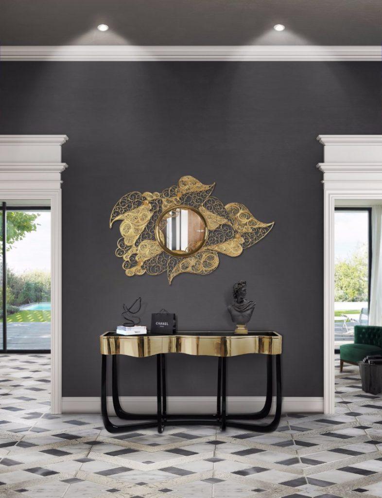 Die beste 25 goldene Stücke für einen perfekten Sommer  luxus Die beste 25 Luxus goldene Stücke für einen perfekten Sommer filigree mirror hr 01