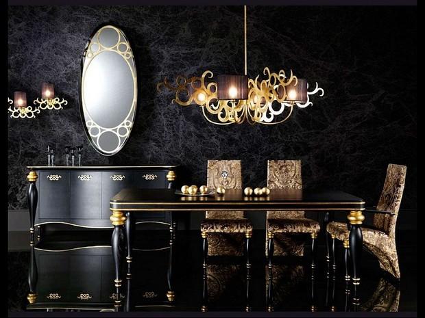 moderne Interiors Luxus-Gold und schwarze Möbel für moderne Interiors 4