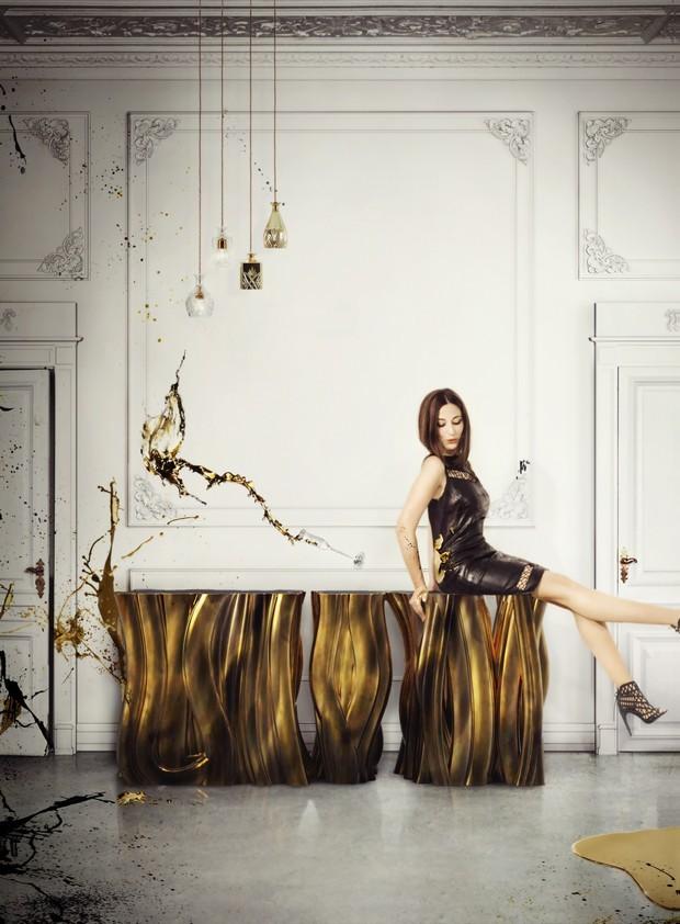 moderne Interiors Luxus-Gold und schwarze Möbel für moderne Interiors 7
