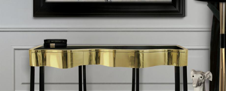 Luxus-Gold und schwarze Möbel für moderne Interiors