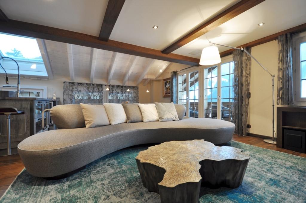 Chalet Skandinavische schicke Wohnzimmer Design zu Ihres Winter Chalet Gerignoz sofa