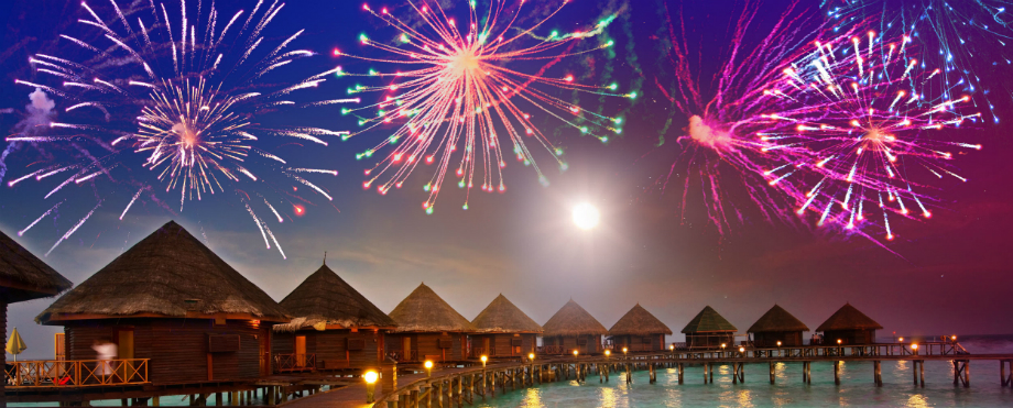 Exotische Luxus Plätze für ein frohes Neues Jahr